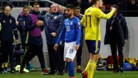 El italiano Insigne, cabizbajo en el partido de ida ante Suecia.