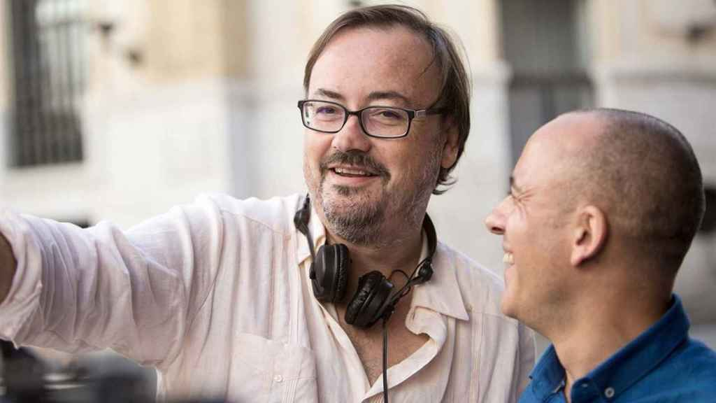 Manuel Martín Cuenca y Javier Gutiérrez en el rodaje de El autor.