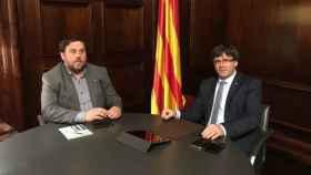 Puigdemont y Junqueras durante una reunión.