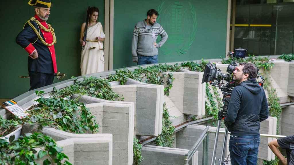 Miguel Rellán en el rodaje de la película.