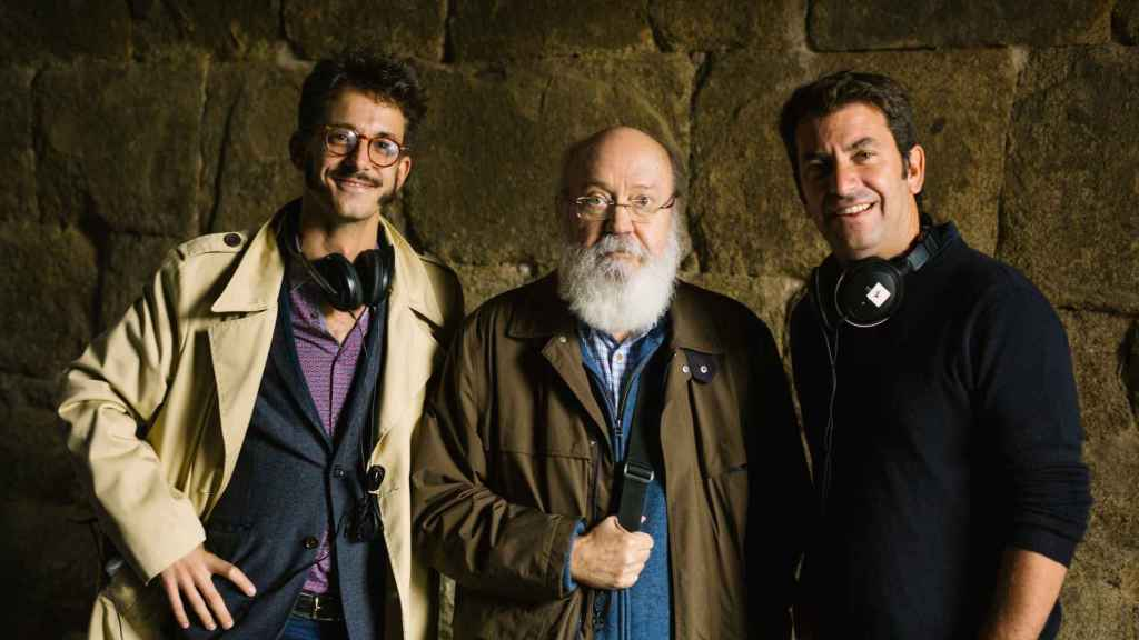 José Luis Cuerda con Félix Tusell y Arturo Valls.