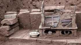 La caja de cerámica encontrada en Jingchuna, en China.