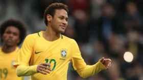 Neymar celebra con Brasil. Foto Twitter (@cbf_futebol)