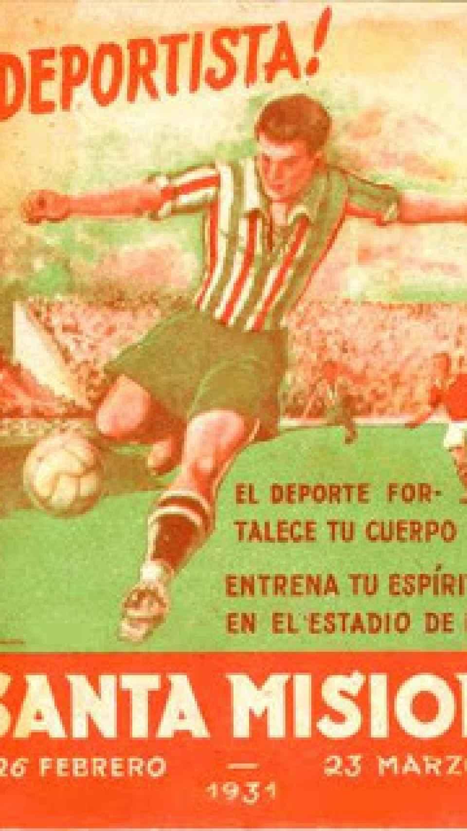 Cartel del estadio creado por el párroco Francisco Míguez Fernández.