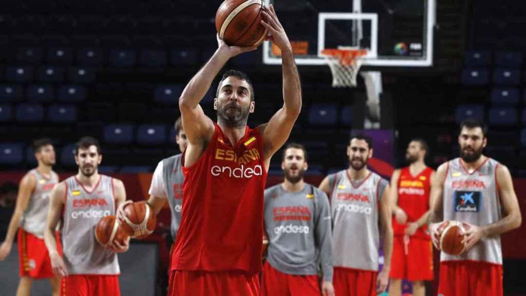 Juan Carlos Navarro en un entrenamiento con España.