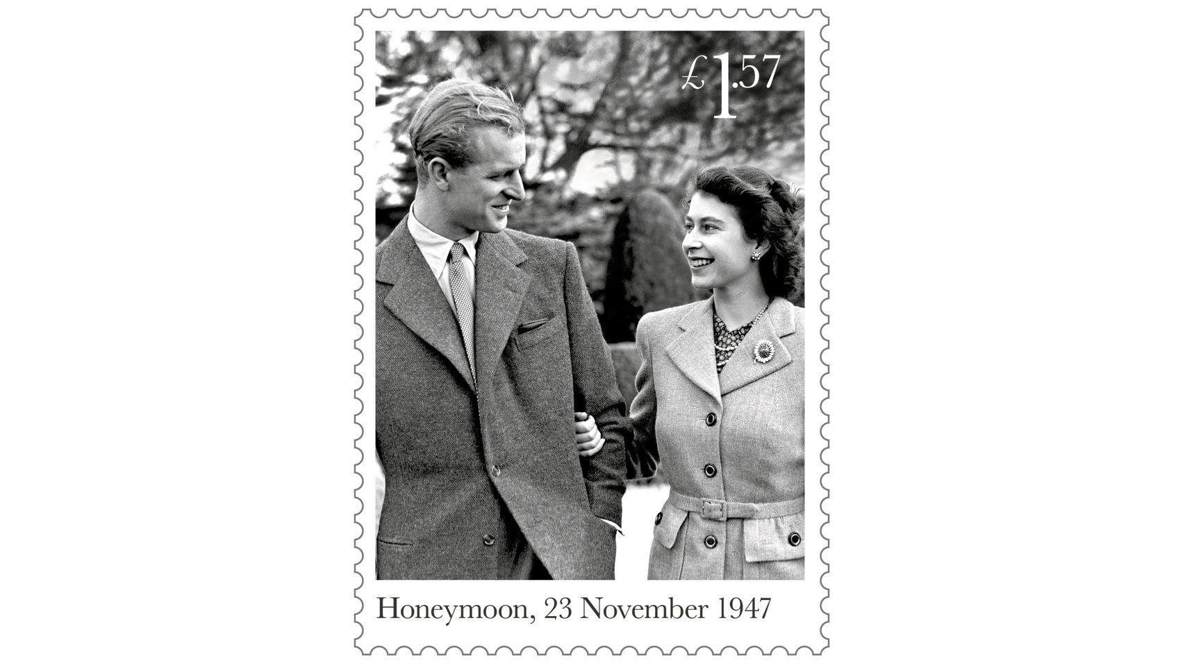 Seis sellos de Isabel II y Felipe de Edimburgo