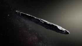 El asteroide Oumuamua en una recreación.