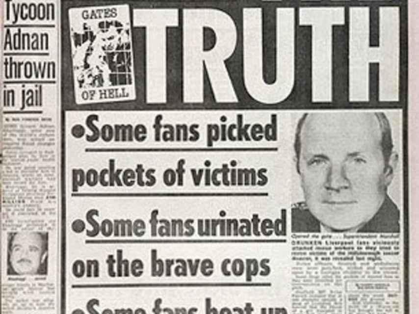 Portada de 'The Sun' tras la tragedia de Hillsborough