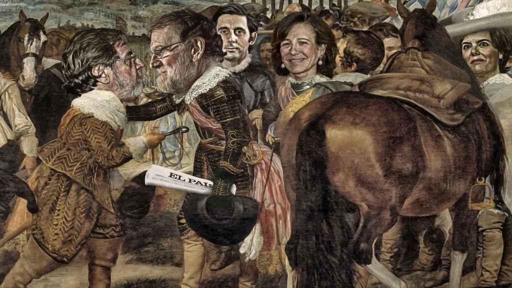 La rendición de Prisa: Juan Luis Cebrián entrega las llaves de 'El País' a Mariano Rajoy , bajo la atenta mirada de José María Álvarez-Pallete (Telefónica), Ana Botín (Santander)  y Soraya Sáenz de Santamaría.