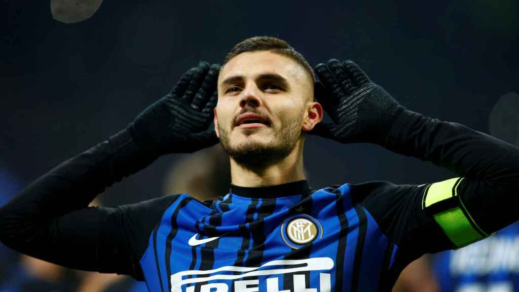 Icardi celebra uno de sus 13 goles con el Inter en la presente edición de la Serie A.