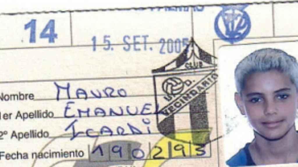 La ficha con la que Mauro Icardi jugó en la categoría infantil en la UD Vecindario.
