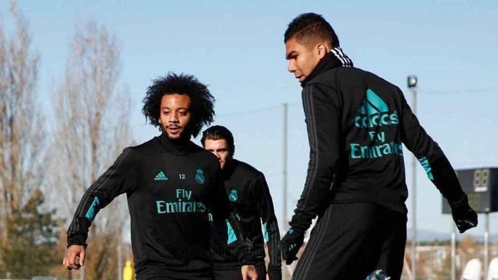 Marcelo y Casemiro en el rondo