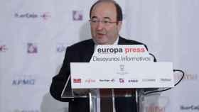 Miquel Iceta, durante los desayunos de Europa Press.