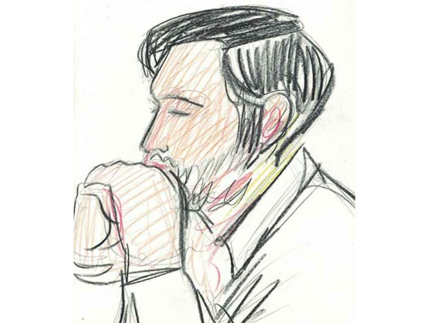 Ilustración de Jesús Escudero durante el juicio en Pamplona.