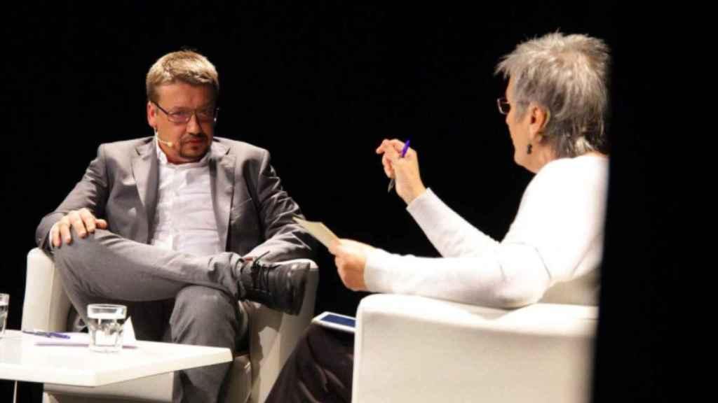 El candidato e Catalunya en Comú, Xavier Domènech, este lunes en Barcelona.