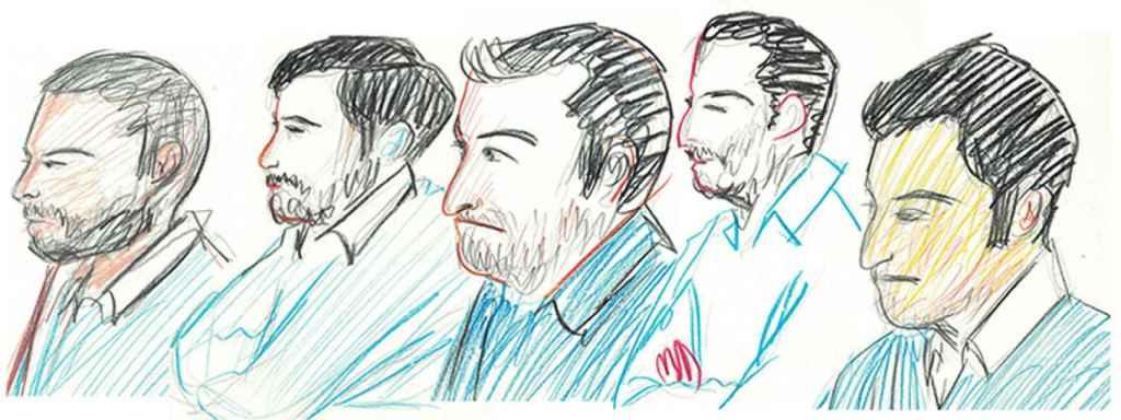 Recreación de los cinco acusados durante la sesión del juicio celebrado este lunes en Pamplona. Ángel Boza, Jesús Escudero, José Ángel Prenda, Antonio Manuel Guerrero y Alfonso Jesús Cabezuelo.