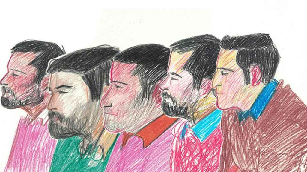 Ilustración de los miembros de La Manada durante el juicio. De izquierda a derecha: Ángel Boza, Jesús Escudero, José Ángel Prenda, Antonio Manuel Guerrero y Alfonso Jesús Cabezuelo.