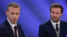 Ceferin y Juan Mata durante el anuncio del fichaje del presidente de la UEFA por Common Goal