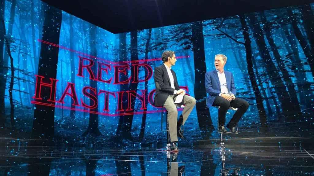 Pallete y Reed Hastings, CEO de Netflix.