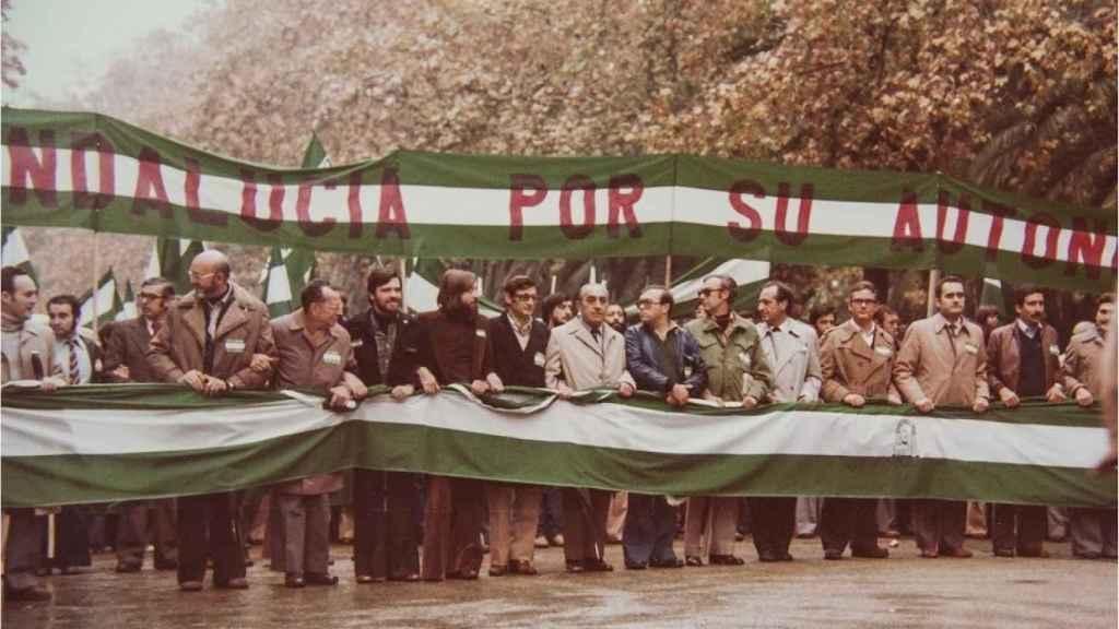 Manifestación en favor de la autonomía de Andalucía, alcanzada el 28 de febrero de 1980.