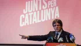 Puigdemont, en el acto de presentación de la candidatura de JxCat en Brujas.