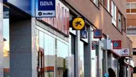 Sucursales de varios bancos en uno de los nuevos barrios del norte de Madrid.