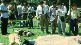 Escena del crimen en la Universidad Centro Americana de San Salvador.