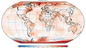 Mapa de anomalías en temperaturas globales de octubre de 2017 en referencia al periodo desde 1980 a 2015.