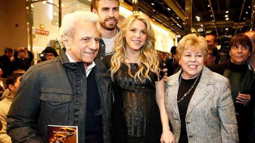 William Mebarak y Nidia Ripoll junto a Shakira y Piqué.