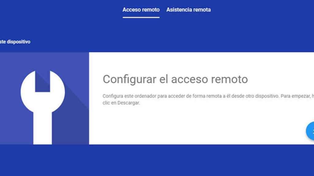 Acceso remoto en Google Chrome.