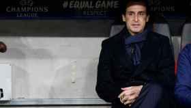 Unai Emery, en el banquillo del Allianz Arena de Múnich.
