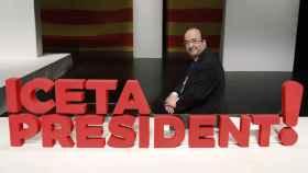 Miquel Iceta, con su lema de campaña en una foto de archivo.