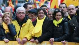 Puigdemont y Marta Rovira han compartido la cabeza de la manifestación de Bruselas