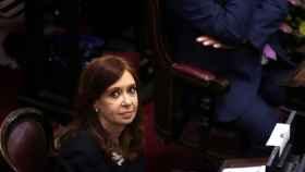Kirchner en su escaño del Senado la semana pasado