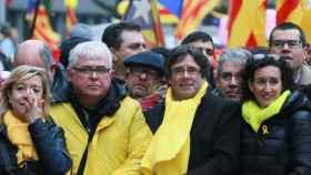 Puigdemont en la manifestación de este jueves en Bruselas./