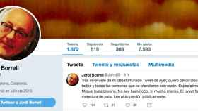 Perfil en Twitter de Jordi Borrell, ya exdirector del Instituto de Nanociencias de la UB.