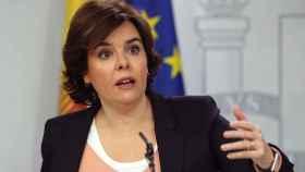 Soraya Sáenz de Santamaría, durante una rueda de prensa posterior a la reunión del Consejo de Ministros
