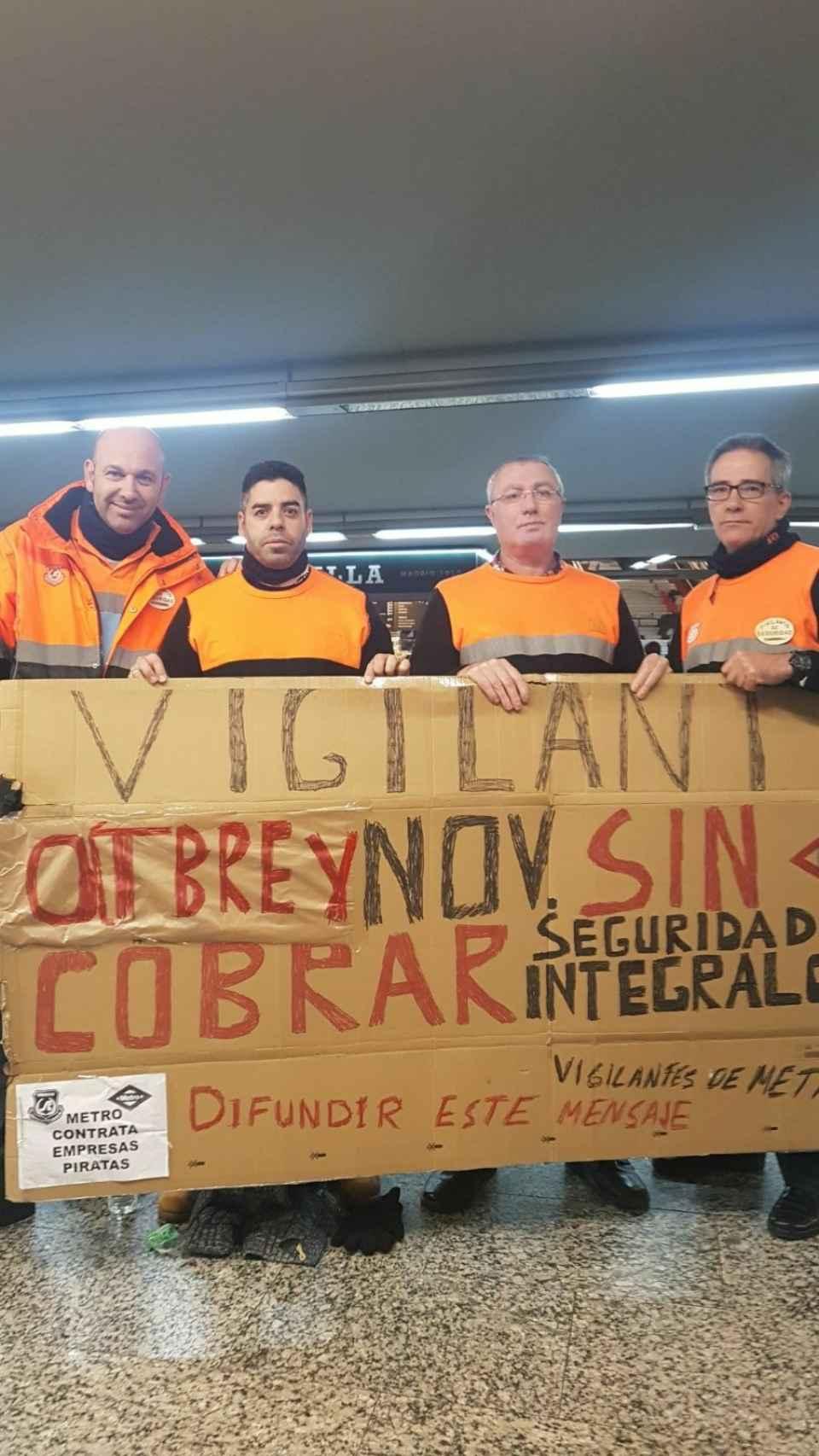 Trabajadores de seguridad del Metro de Madrid.