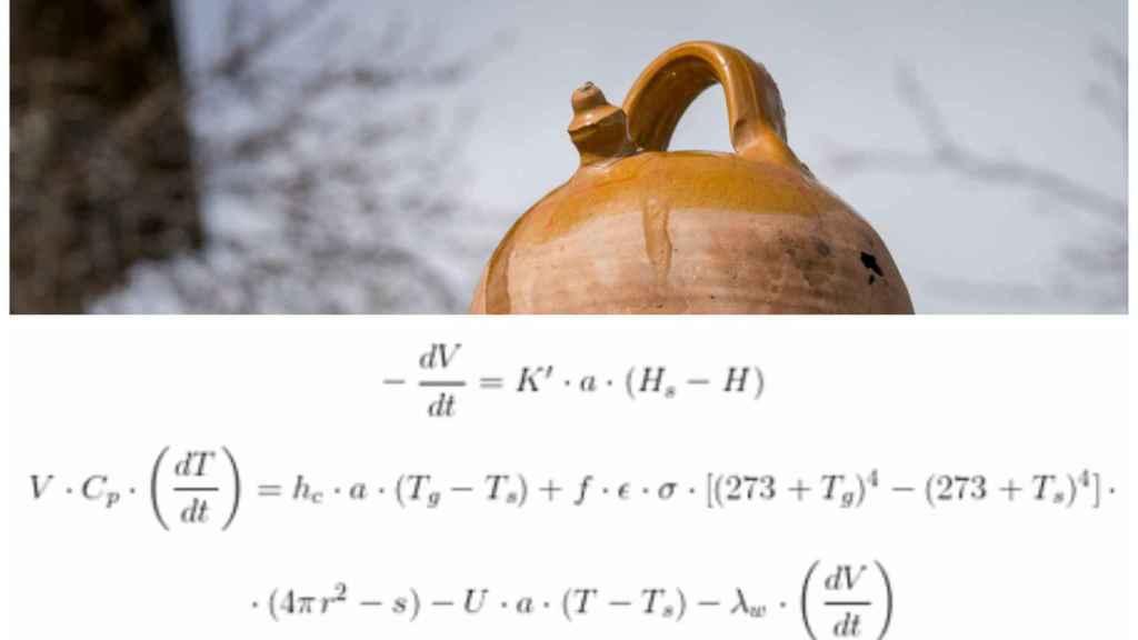La fórmula del mecanismo del botijo desarrollada por Gabriel Pinto y José Ignacio Zubizarreta.