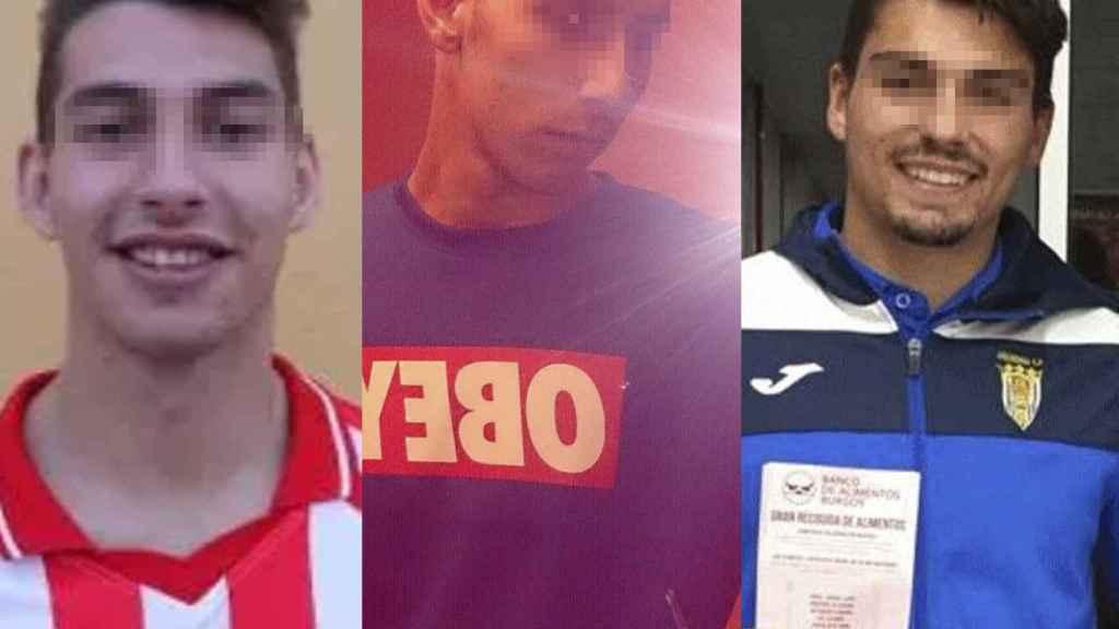 Lucho, Viti y Calvo, los tres futbolistas del Arandina detenidos.