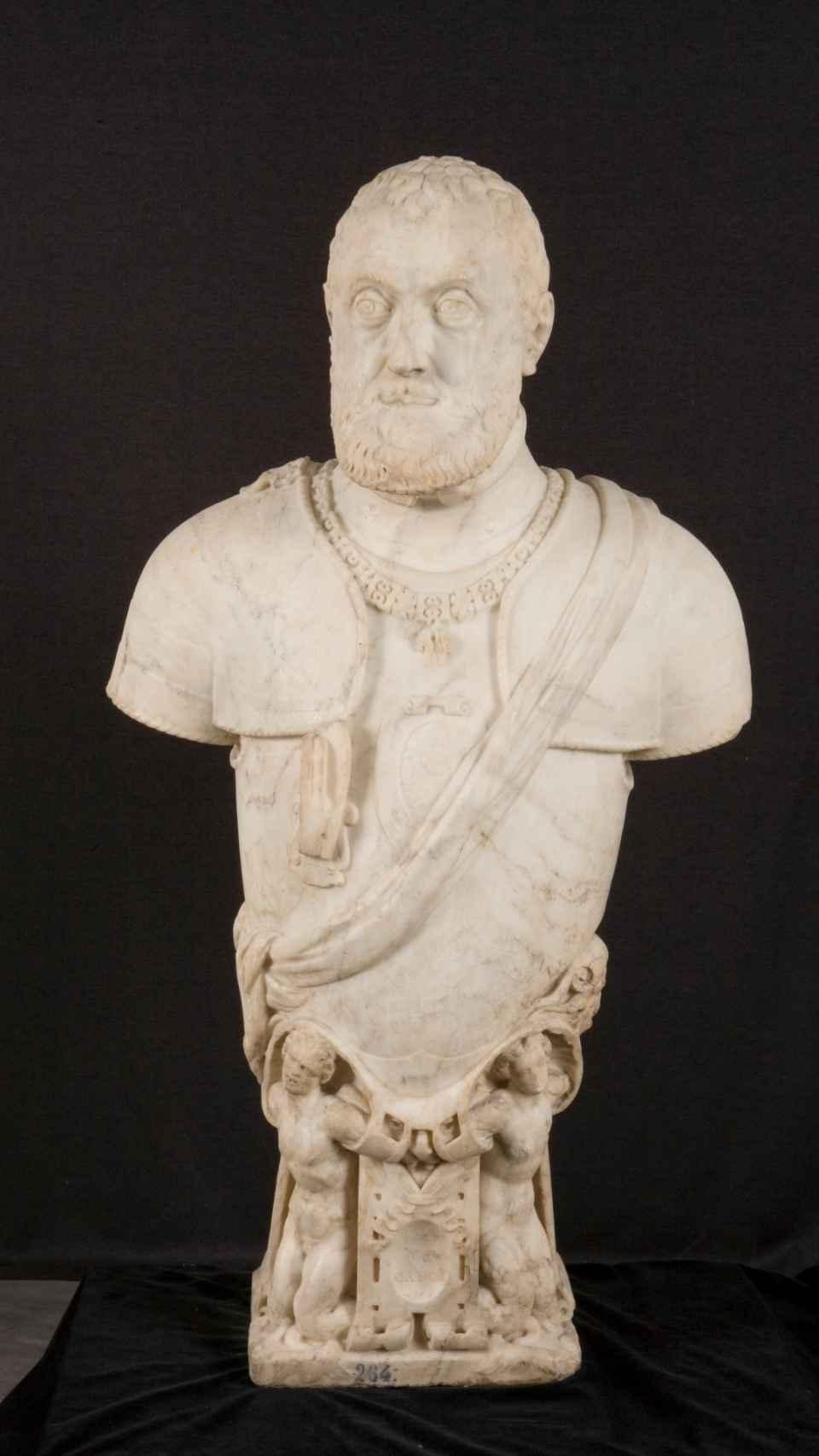 Busto de mármol de Carrara del Museo del Prado, realizado por los Leoni al tiempo que la que se vende ahora.