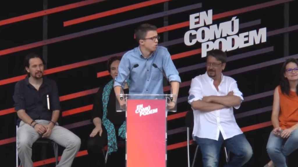Errejón mitineando en la campaña del 26-J junto a Iglesias, Colau, Domènech y Oltra.