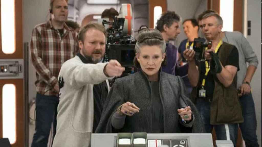 Carrie Fisher en el rodaje de la película.