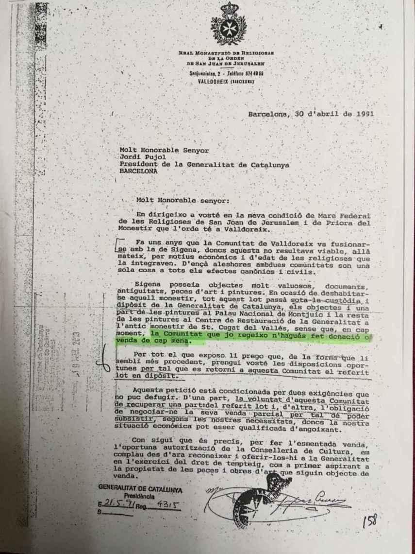 La carta de Pilar Sanjoaquín a Jordi Pujol.