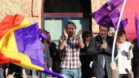 Iglesias y Domènech en un acto de campaña.