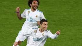 Cristiano Ronaldo celebra su gol con el Real Madrid.