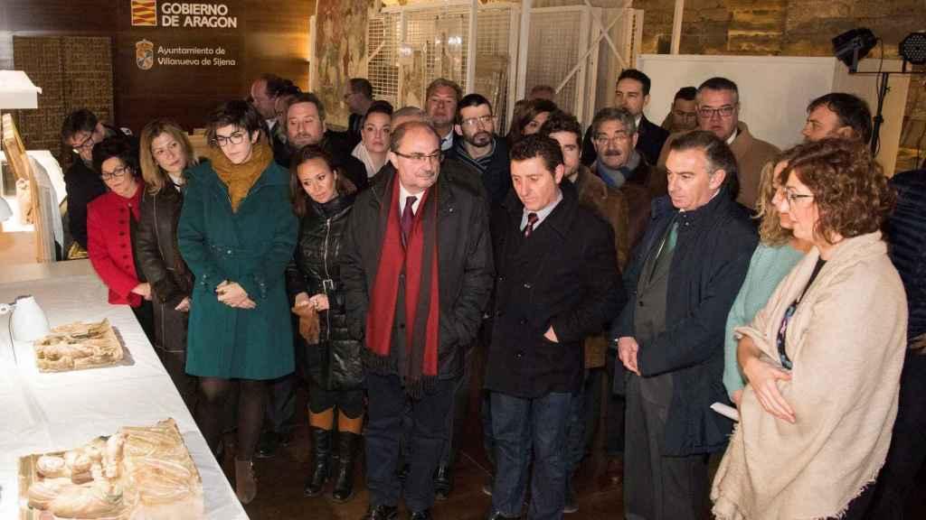 Javier Lambán en su visita al Monasterio de Sijena.