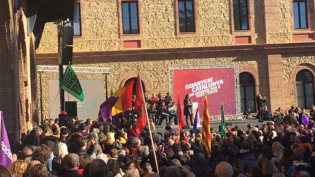 Ada Colau durante el acto central de campaña de Catalunya en Comú Podem