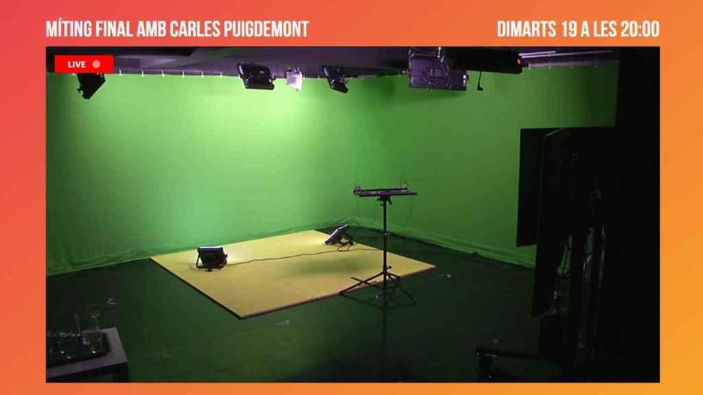 Escenario desde donde Puigdemont impartirá su cibermitin.