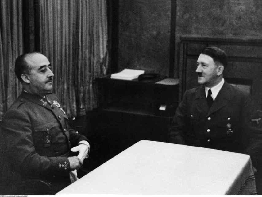 Franco y Hitler en Hendaya.